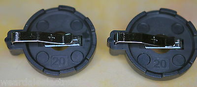 BATTERY HOLDER FOR 1 x 20mm COIN CELL BLACK  PACK OF 2 HOLDERS + 2 x FREE CR2032