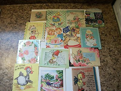 Lot of 14 Vintage Greetings Cards Birtday Get Well