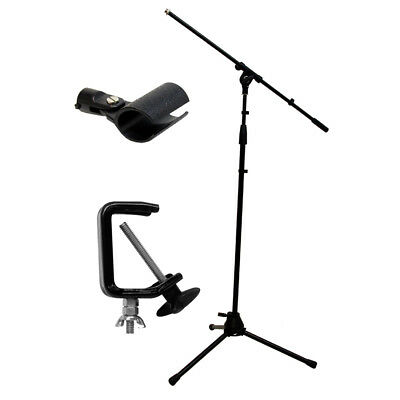 Vocal Stage Instrument Adjustable Boom Mic Microphone Tripod Stand Mount Clamp