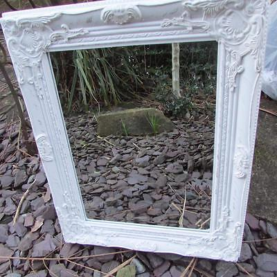 Wall Hanging Ornate Mirror White Gold Rectangle French Vintage Antique Style New