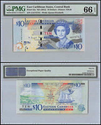 East Caribbean States 10 Dollars, ND 2012, P-52a,UNC,Queen Elizabeth, PMG 66 EPQ