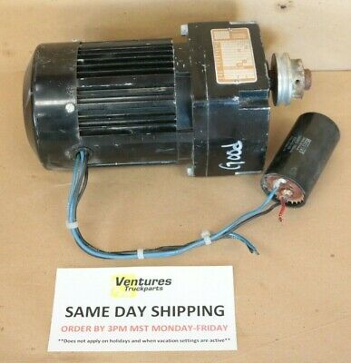 Electric Gear Motor 1/10 Hp 7 To 1 Ratio 21 Lb-In Of Torq Bodine New Old Stock