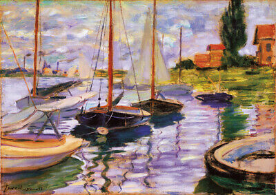 Sailboats - Claude Monet - A4 size 21x29.7cm Canvas Art Print Poster Unframed