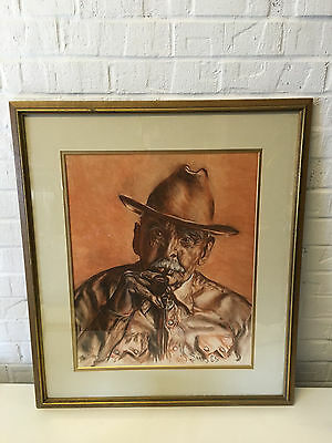 Vintage 1965 Signed Sims Chalk / Pastel Drawing of Old Man in Hat Smoking Pipe