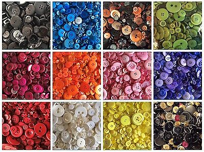 2 Packs Of 100G Job Lot Mixed Buttons - Black White Red Yellow Blue Green Orange