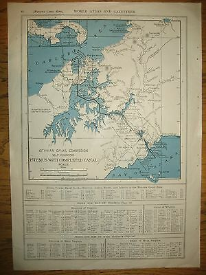 1917 Vintage Railroad  MAP  PANAMA CANAL / WEST INDIES     DATED