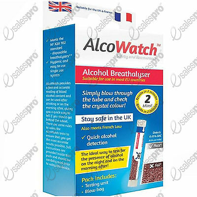 Alcowatch - Breathalyser test kit, detector. Disposable. NF X20 702 std
