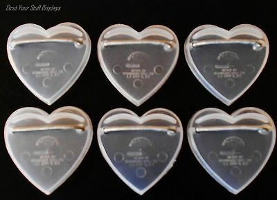 """6 Heart-Shape DOLL STANDS ~ NEW. Small 6""""- 8"""" tall Dolls. CLEAR PLASTIC w/Spring"""