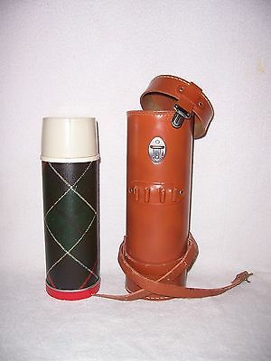 Vintage Universal Thermos with Leather Carry Case Spring Loaded