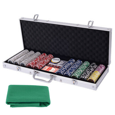 Poker Set - 500 Piece Texas Hold Em Chips Cards Dice Decks Casino Case Game Mat