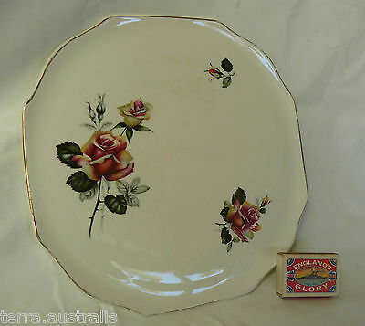 Lord Nelson Pottery Cake Serving Plate Dish England - Floral Rose Design 9-65