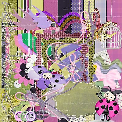 Fly Away Scrapbooking Kit 50+ Papers Elements Embellishments