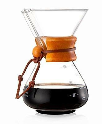 Diguo Classic Glass Coffee Maker Chemex Style Pour Over Coffeemaker 400ml/3 Cups