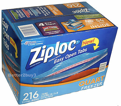"216 ZIPLOC FOOD STORAGE HEAVY DUTY BAGS  DOUBLE ZIPPER IDEAL FREEZER 7"" x 7"""