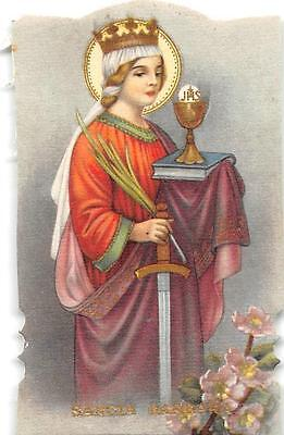 """OLD nice  rare Holy cards from 1930""""h3482 """" Sancta Barbarra"""