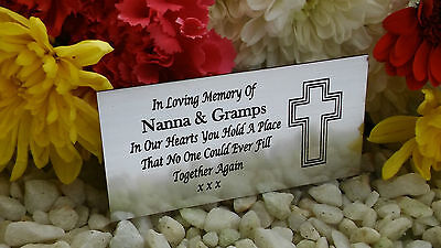 Personalised Engraved Memorial Plaque Cross Silver 10X5Cm Bench Plaque (A08)