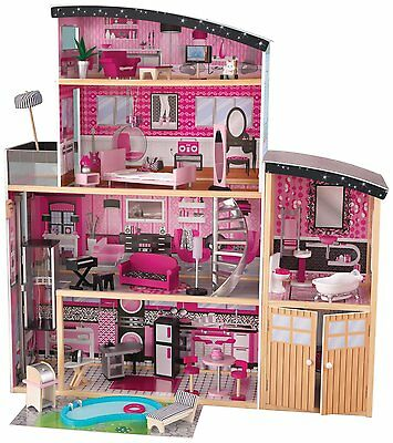 Barbie Size Dollhouse Doll House Mansion Play Set Furniture KidKraft Sparkle Toy