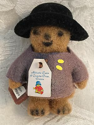 "Vintage Mini Paddington Bear Dollhouse Size 21/2"" Miniature Flocked Rare Italian"