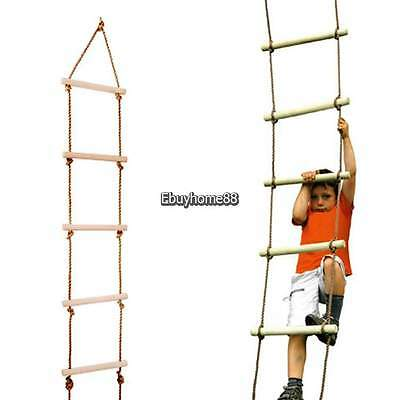 Rope Ladder Tree Climbing Natural Wood Sturdy Indoor Outdoor Kids Child Sports
