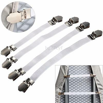 4PCS Ironing Board Cover Fasteners Clip Tight Fit Elastic Brace Bed Sheet Grips