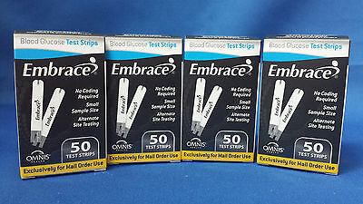 200 Embrace Diabetes Blood Glucose Test Strips Sealed EXP: 12 Months +