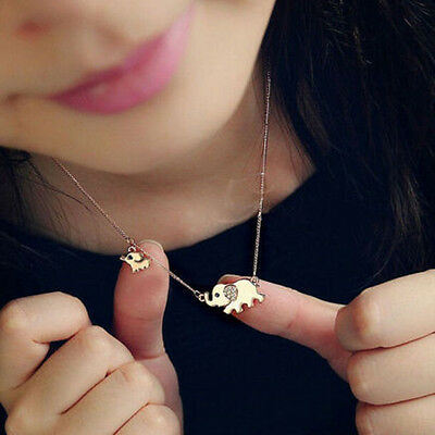 New Fashion Women Gold Plated Elephant Pendant Necklace Rhinestone Jewelry Chain