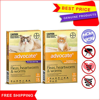 ADVOCATE for Cats 6 Pipettes Flea Heartworm Worm treatment by Bayer All Sizes