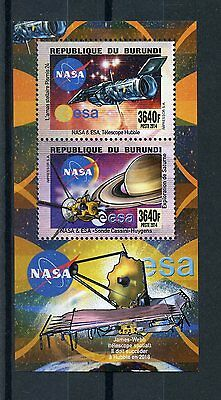Burundi 2014 MNH NASA ESA Telescopes & Probes 2v Deluxe M/S Space Hubble Saturn