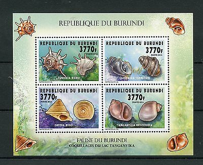 Burundi 2014 MNH Seashells of Lake Tanganyika 4v M/S I Shells Coquillages