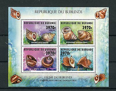 Burundi 2014 MNH Seashells of Lake Tanganyika 4v M/S II Shells Coquillages