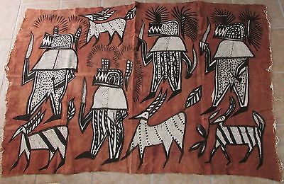 "African Korhogo Mud Cloth Painting Textile/ Wall Hanging Sepia & Black 49"" x 74"""