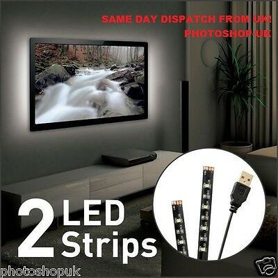"""BARKAN L10 USB WHITE COLOR MOOD LIGHT FOR TV-CONTAINS 2x 19.7"""" (50cm) LED STRIPS"""