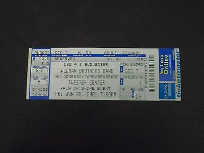 Allman Brothers Band Unused Concert Ticket / Stub 6-22-2001 Very Good Condition