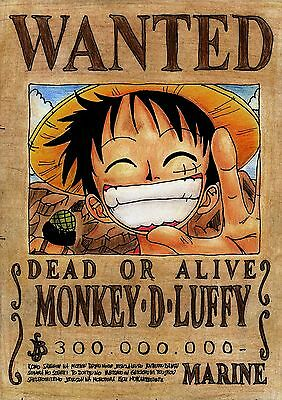 Stickers Autocollant Tr.poster A4 Manga One Piece Wanted Monkey.d.luffy Dead Ali