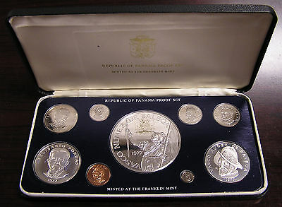 1977 Panama 9-Coin Proof Set, with Silvers
