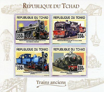 Chad Tchad 2013 MNH Old Trains 4v M/S Railways Outeniqua Choo Tjoe