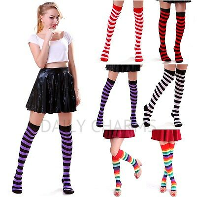 Women's Striped Tube Socks Over Knee Thigh High Cute Girls Punk Dress Stockings