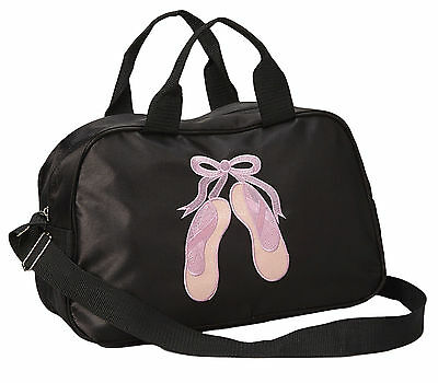 Girl's Black Dance Duffle Bag Pink Sparkle Toe Shoes with Embroidery