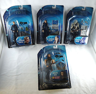 StarGate Atlantis CARTER, Dr.KELLER, DRONE, RONON 4pc action figure set & Chair