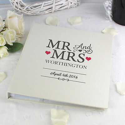 Personalised Mr And & Mrs Sleeved Cream Photo Album For Wedding Day Gift 7x5