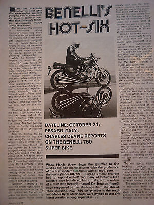 Benelli 750-6 Italian Road Test # Original Vintage Motorcycle Article # 5 Pages