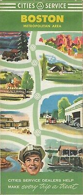 1951 CITIES SERVICE Road Map BOSTON Massachusetts Cape Cod Wellesley Winchester