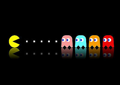 Stickers Autocollant Tr.poster A4 Jeux Video Game Retro Pac Man & 4 Ghost Blue R