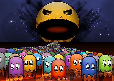 Stickers Autocollant Tr.poster A4 Jeux Video Game Retro Bad Pac Man & Sad Ghost.