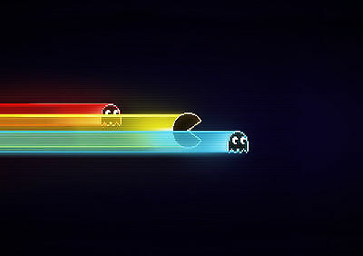Stickers Autocollant Transparen.poster A4 Jeux Video Game Retro Pac Man & Ghost.