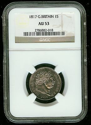 1817 Great Britain George III One Shilling NGC AU 53 (1 Shilling)