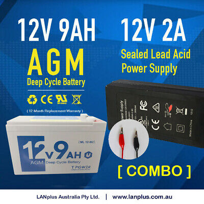 12V 9AH SLA Rechargeable Battery with 12V 2A power supply / battery charger