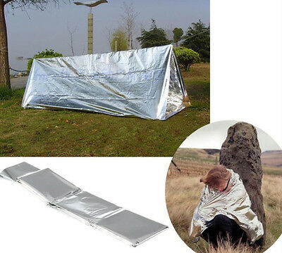 Waterproof~~Emergency Survival Foil Thermal First Aid Rescue Blanket Tent Silver