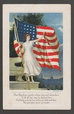 "[58460] Old Postcard ""dear Flagof Our Country....."""