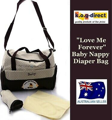 Baby Diaper Tote Nappy Bag With Change Mat And Bottle Holder Chocolate B39